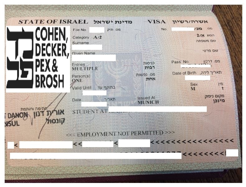 Re-entry visa to Israel (InterVisa) - Cohen, Decker, Pex, Brosh