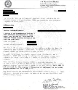 טביעות אצבע עבור תעודת יושר מה FBI